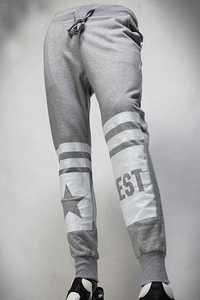 Beam Feet Rib Splicing Star Pattern Stripes Print Lace-Up Men's Pants - GRAY 38