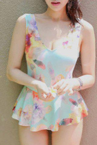 Endearing Floral Printed V-Neck Sleeveless Flounced One-Piece Swimwear For Women - ICE BLUE L