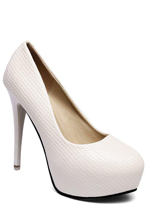 Party Embossing and Solid Color Design Pumps For Women - WHITE 35