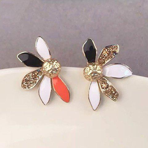 Pair of Delicate Faux Gemstone Asymmetric Flower Earrings For Women