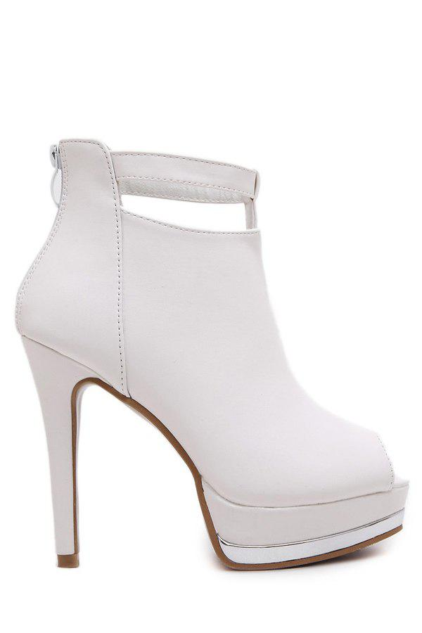 Simple Solid Color and Platform Design Peep Toe Shoes For Women - WHITE 39