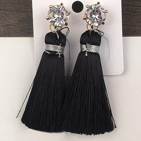Pair of Chic Rhinestone Tassel Decorated Earrings For Women - BLACK