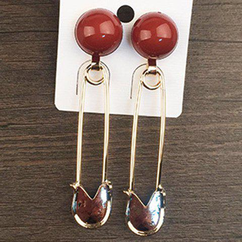 Pair of Chic Pin Shape Ball Decorated Earrings For Women - GOLDEN