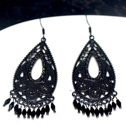 Pair of Chic Bohemia Hollow Out Water Drop Earrings For Women - BLACK