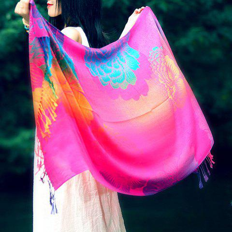 Chic Big Peony Pattern Tassel Pendant Bright Color Pashmina For Women