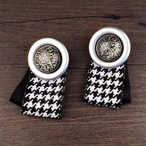 Pair of Chic Round Plaid Pattern Earrings For Women - BLACK