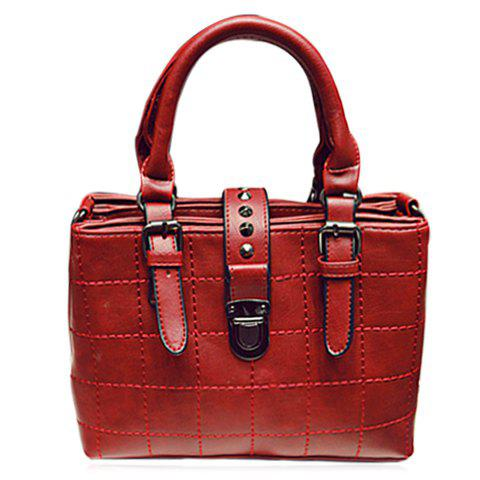 Trendy Hasp and Plaid Design Tote Bag For Women - WINE RED