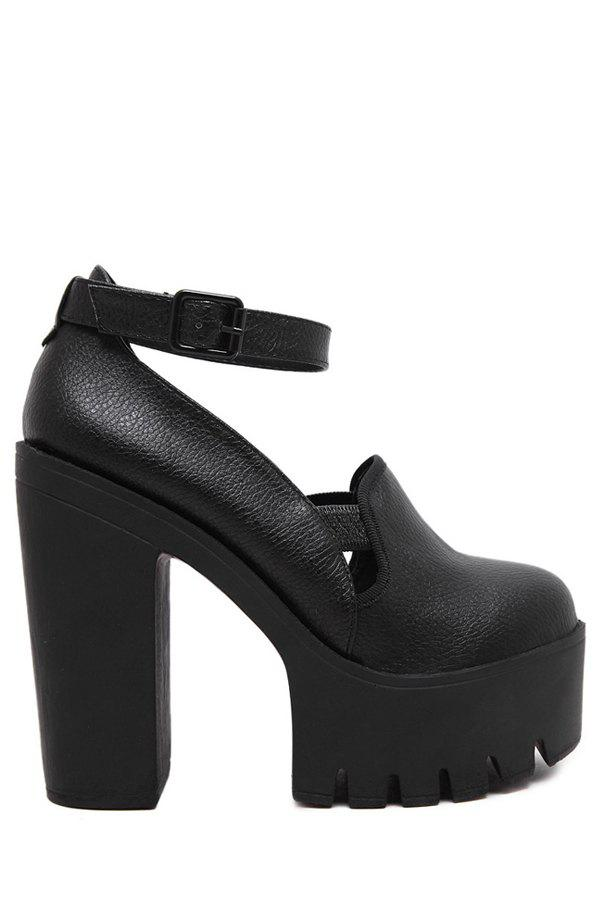 Trendy Ankle Strap and Platform Design Pumps For Women - BLACK 38