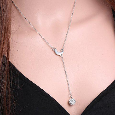 Delicate Moon Shape Rhinestoned Ball Pendant Necklace For Women - SILVER