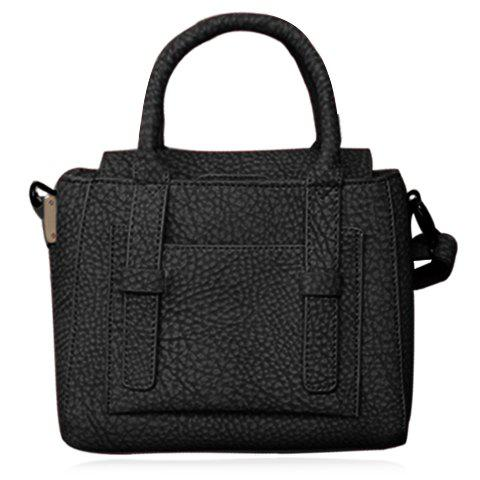 Trendy Solid Colour and PU Leather Design Tote Bag For Women - BLACK