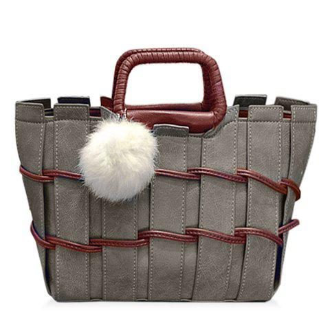 Stylish Weaving and Color Block Design Women's Tote Bag - GRAY