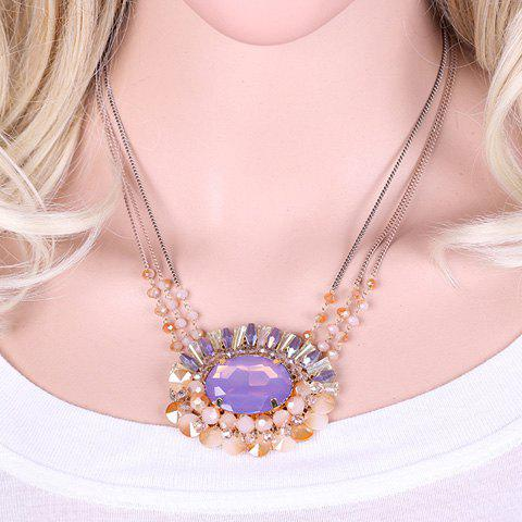 Graceful Faux Crystal Oval Beads Pendant Necklace For Women