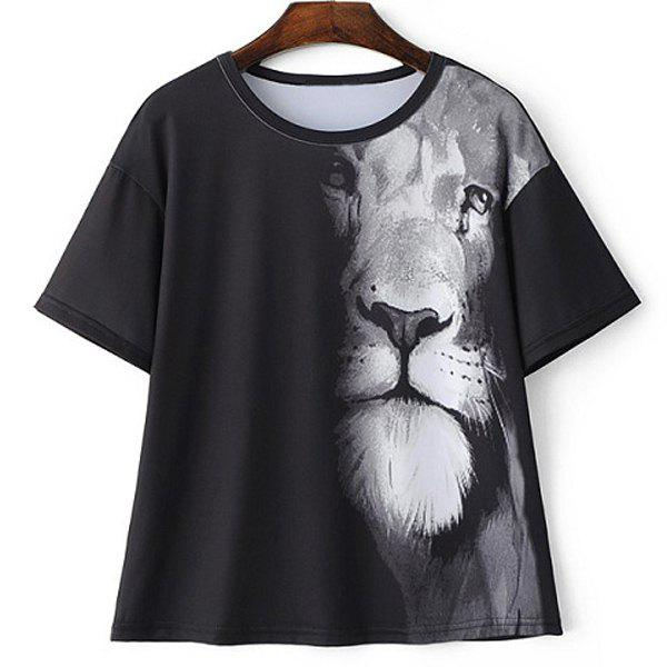 Casual Round Neck Short Sleeve Lion Print Women's T-Shirt - BLACK L