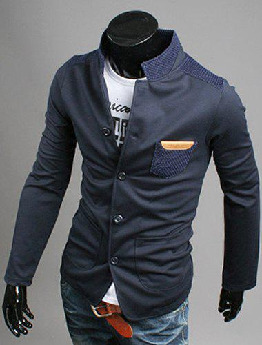 Modish Stand Collar Patch Pocket Long Sleeve Men's Single Breasted Jacket - CADETBLUE M