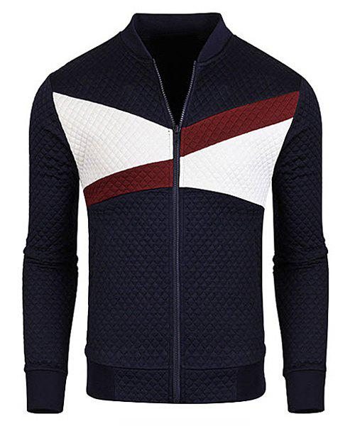 Stand Collar Rib Cuffs Color Block Splicing Long Sleeve Men's Jacket - CADETBLUE M