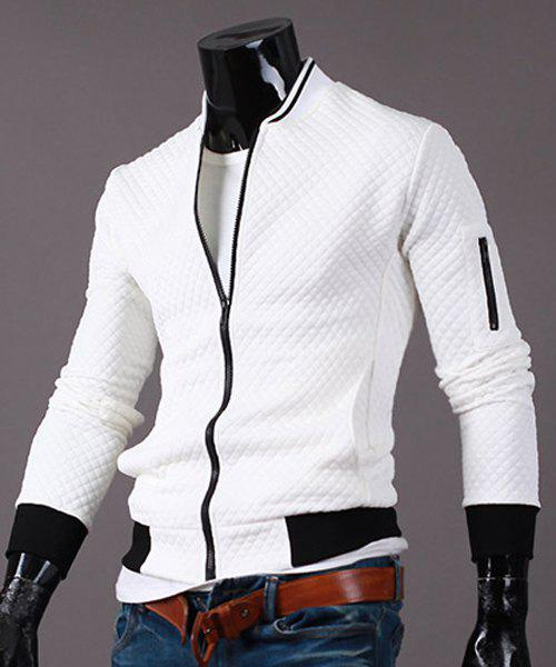 Stand Collar Color Block Rib Splicing Zipper Pocket Long Sleeve Men's Jacket - WHITE M