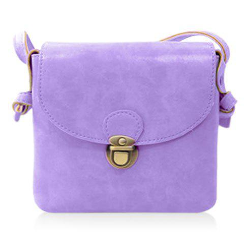 Trendy Solid Color and PU Leather Design Women's Crossbody Bag - LIGHT PURPLE
