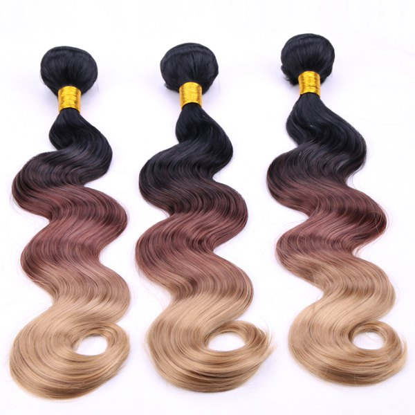 Fashion Body Wave Three Color Gradient 3 Pcs/Lot Long Synthetic Hair Weave For Women - OMBRE 1211 14INCH*16INCH*16INCH