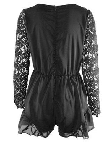 Stylish Plunging Neck Long Sleeve Hollow Out Women's Romper - BLACK S