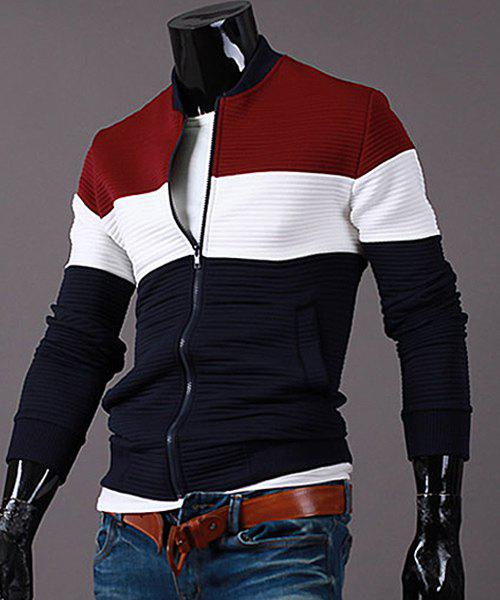 Stand Collar Color Block Splicing Rib Cuffs Long Sleeve Men's Sports Jacket - RED 2XL