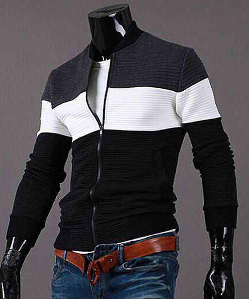 Stand Collar Color Block Splicing Rib Cuffs Long Sleeve Men's Sports Jacket 169656903
