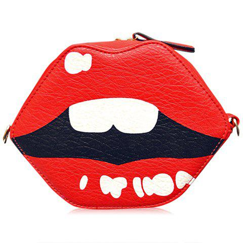 Fashion Lip Shape and Tassels Design Crossbody Bag For Women - RED