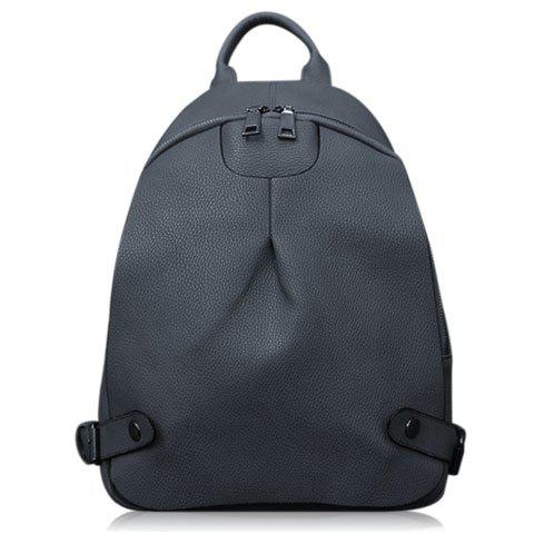 Stylish Solid Color and Zipper Design Women's Backpack - BLACK