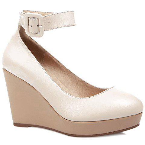 Trendy Platform and Ankle Strap Design Women's Wedge Shoes - OFF WHITE 38