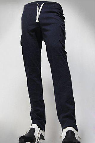 Casual Straight Leg Flap Patch Large Pocket Lace-Up Men's Pants - CADETBLUE 2XL