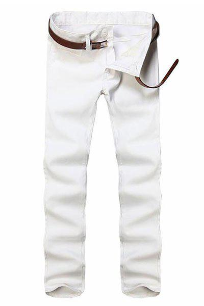 Simple Style Straight Leg Solid Color Zipper Fly Men's Pants - WHITE 28
