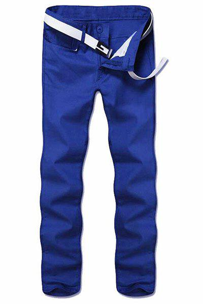 Simple Style Straight Leg Solid Color Zipper Fly Men's Pants - BLUE 32