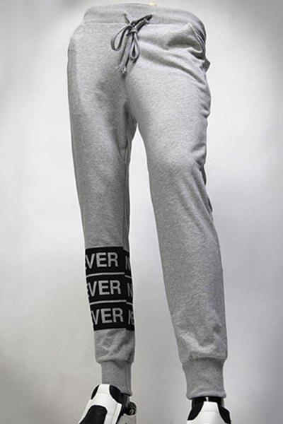 Casual Beam Feet Letters Print Lace-Up Men's Pants - GRAY 28