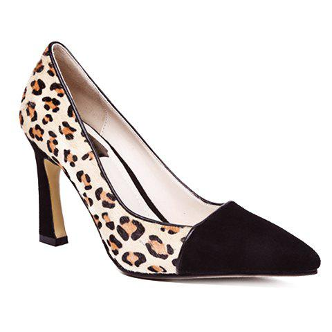 Sexy Leopard Print and Pointed Toe Design Pumps For Women - 35 BLACK