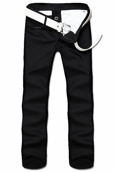 Simple Style Straight Leg Solid Color Zipper Fly Men's Nine Minutes Of Pants - BLACK 30