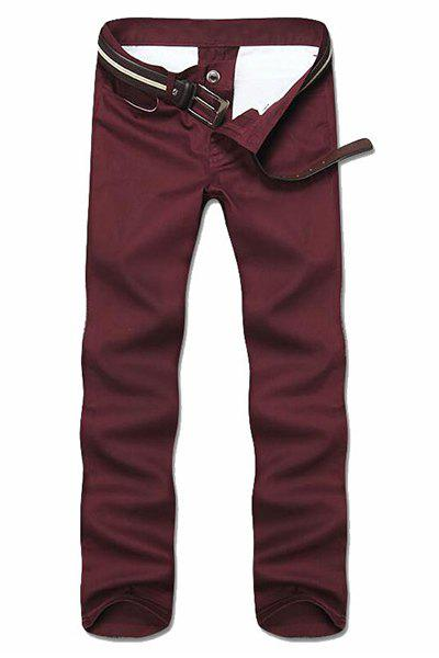 Simple Style Straight Leg Solid Color Zipper Fly Men's Nine Minutes Of Pants - WINE RED 28