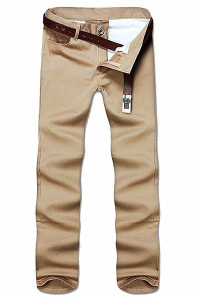 Simple Style Straight Leg Solid Color Zipper Fly Men's Nine Minutes Of Pants - KHAKI 34