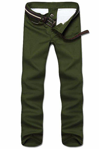 Simple Style Straight Leg Solid Color Zipper Fly Men's Nine Minutes Of Pants - ARMY GREEN 38