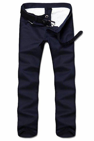 Simple Style Straight Leg Solid Color Zipper Fly Men's Nine Minutes Of Pants - CADETBLUE 32