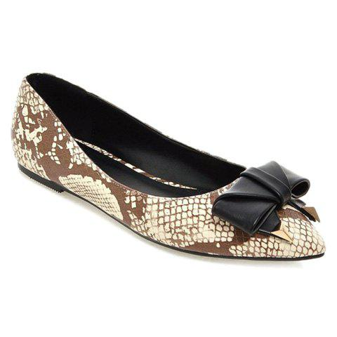 Trendy Bowknot and Snake Print Design Women's Flat Shoes - APRICOT 36