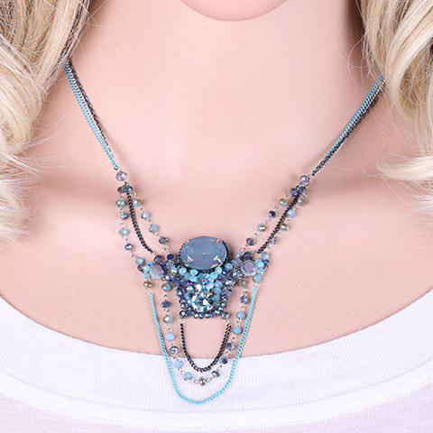 Charming Artificial Crystal Beads Oval Hollow Out Necklace For Women - BLUE
