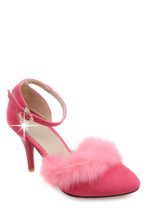 Stylish Faux Fur and Ankle Strap Design Pumps For Women - PINK 39
