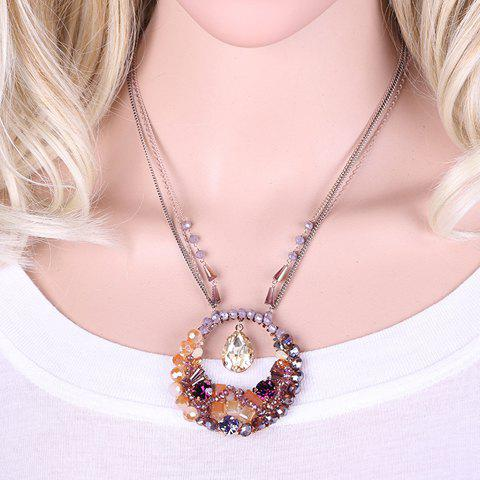 Charming Artificial Crystal Beads Water Drop Hollow Out Necklace For Women - PURPLE