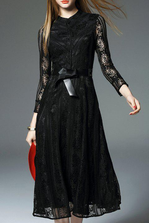 Elegant Women's 3/4 Sleeve Stand  Collar Lace Belted Dress - BLACK XL