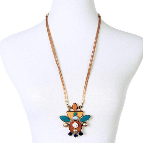 Stylish Faux Crystal and Wood Decorated Sweater Chain For Women - GOLDEN