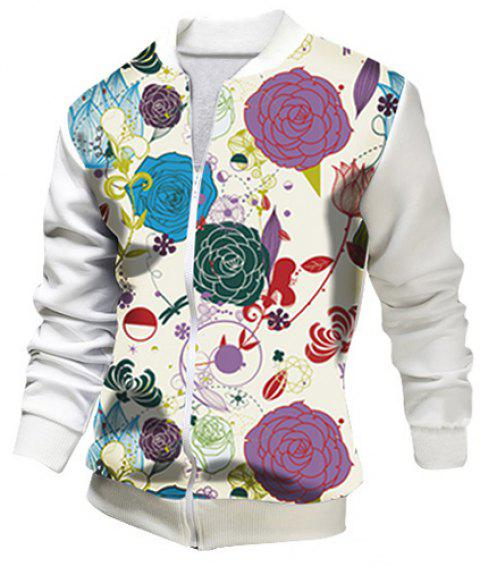 Stand Collar 3D Floral Print Rib Splicing Long Sleeve Slim Fit Men's Jacket - WHITE M