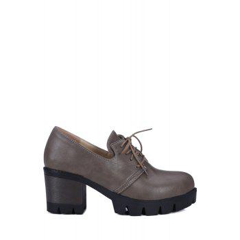 Vintage Lace-Up and Chunky Heel Design Pumps For Women - GRAY 37