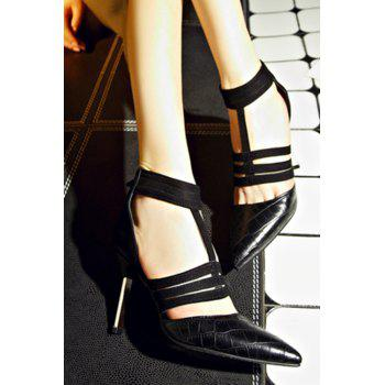 Stylish Stone Pattern and Black Design Pumps For Women - BLACK 34