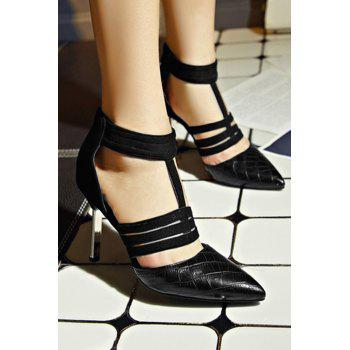 Stylish Stone Pattern and Black Design Pumps For Women - 34 34