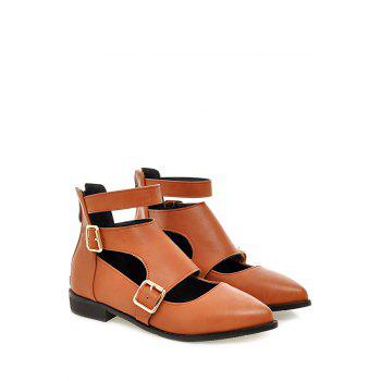 Casual Buckles and Zip Design Flat Shoes For Women - BROWN BROWN