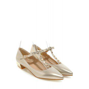 Trendy T-Strap and Rivet Design Flat Shoes For Women - 39 39